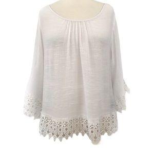 Unique Spectrum White Crochet Lace Trim Blouse M